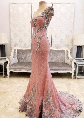 Luxurious Crystal Pink Mermaid Evening Dress 2020 Zipper Button Back_5