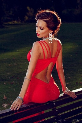 Sexy Red Mermaid Straps 2020 Prom Dress Sweep Train Sleevless Sweetheart_4