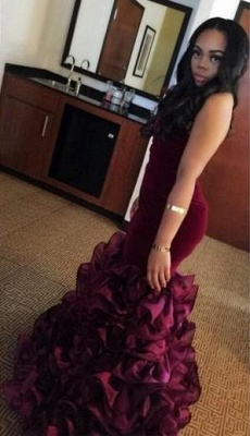 Velvet Ruffles Burgundy Mermaid Sweetheart-Neck Flowers Train 2020 Prom Dresses LY156 BK0_3