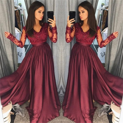 Maroon Burgundy Long Sleeve 2020 Prom Dress Lace With Split_3