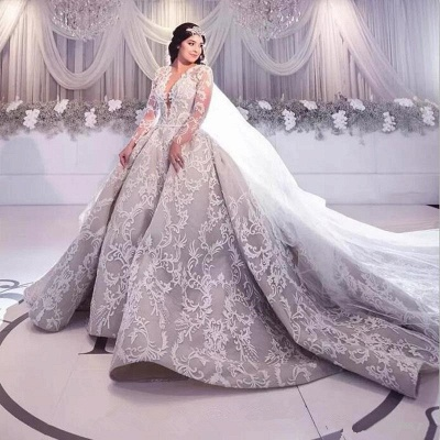 Gorgeous Long Sleeve Lace Wedding Dress | 2020 Princess Bridal Gowns_3