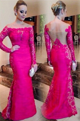 Newest Fuchsia Long Sleeve Mermaid Evening Dress 2020 Lace Off-the-shoulder_1