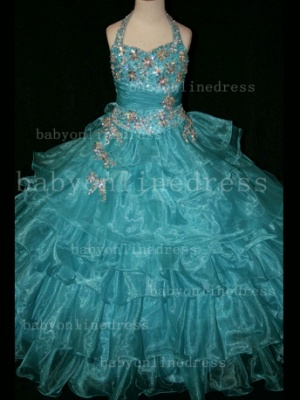 Beaded Cheap Pageant Dresses for Girls Very Online 2020 Crystal Organza Floor-length Gowns Stores_5