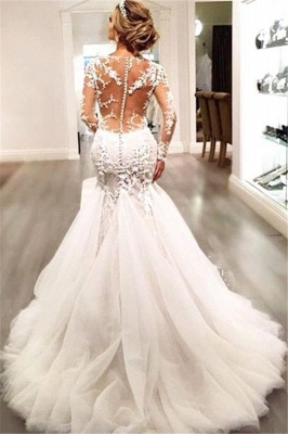 Glamorous Long Sleeve Lace 2020 Wedding Dress Tulle Mermaid Zipper Button Back_4