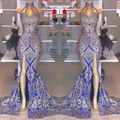 Glamorous High-Neck Sleeveless Prom Dresses | 2020 Mermaid Royal Blue Evening Gowns On Sale BC1490_2