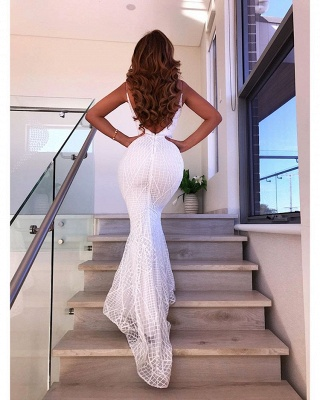 Sexy Spaghetti Straps Backless Evening Gowns | Mermaid Floor Length Prom Dress_3