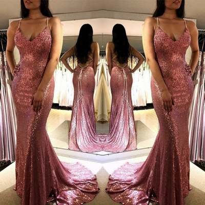 2020 Hot Sell Spaghetti Strap Sleeveless Mermaid Evening Dress | V-Neck Sequins Pink Prom Gown On Sale_2