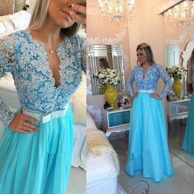 Modest Lace V-neck Long Sleeve Evening Dress | Long Party Gown BMT_2