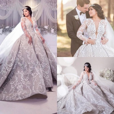 Gorgeous Long Sleeve Lace Wedding Dress | 2020 Princess Bridal Gowns_4