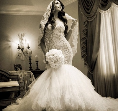 Newest Style Lace Wedding Dress2020 Mermaid Tulle Bridal Gowns_3