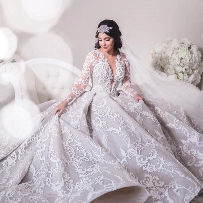 Gorgeous Long Sleeve Lace Wedding Dress | 2020 Princess Bridal Gowns_2