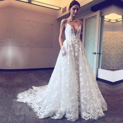 Gorgeous Spaghetti-Straps Lace Wedding Dresses | 2020 V-Neck Long Bridal Gowns_2