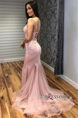 Sleeveless Elegant V-Neck Tulle Mermaid Prom Dress_1