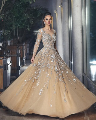 Glamorous Long Sleeve 2020 Evening Dress Tulle With Lace Appliques BA8501_1