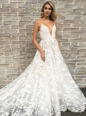 Gorgeous Spaghetti-Straps Lace Wedding Dresses | 2020 V-Neck Long Bridal Gowns_3