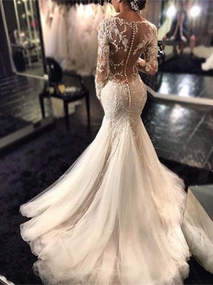 Glamorous Long Sleeve Lace 2020 Wedding Dress Tulle Mermaid Zipper Button Back_1