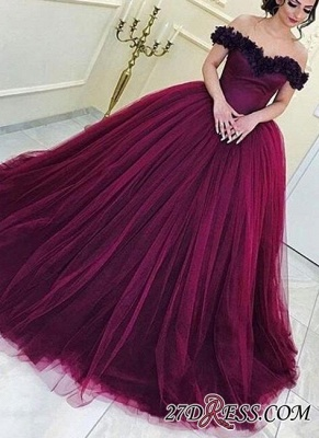 Long Sleeveless Ball-Gown Off-the-Shoulder Tulle Appliques Prom Dresses_2