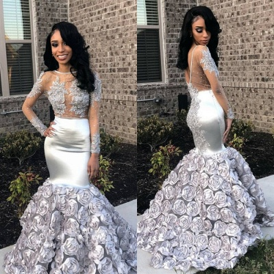 Silver Long Sleeve Prom Dress | 2020 Formal Gowns With Flowers Bottom BA8990_3