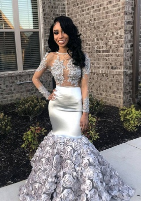 Silver Long Sleeve Prom Dress | 2020 Formal Gowns With Flowers Bottom BA8990_1
