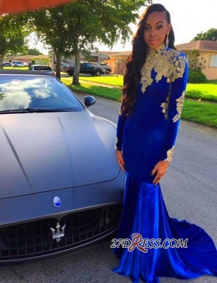 2020 Appliques Elegant Royal-Blue Mermaid High-Neck Long-Sleeves Prom Dress BK0 BC2061_3