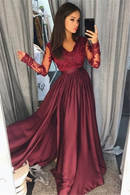 Maroon Burgundy Long Sleeve 2020 Prom Dress Lace With Split_1