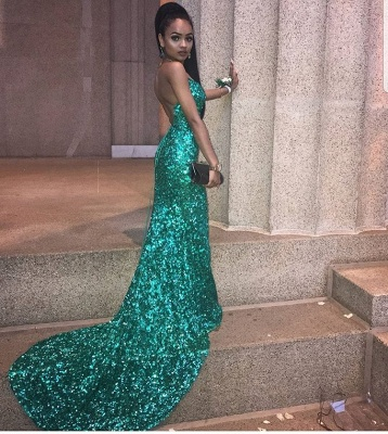 Gorgeous Spaghetti Strap Sleeveless Evening Gowns   Sequins Criss Cross Strings Mermaid Prom Dress_3