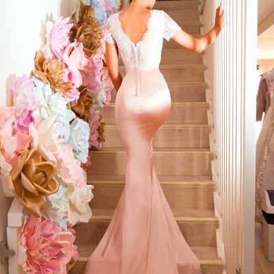 Gorgeous Short-Sleeve 2020 Prom Dress | Lace Mermaid Bridesmaid Dress On Sale_4
