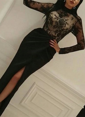Sexy Black Lace Long Sleeve High-Neck 2020 Prom Dress With Split_1