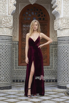 2020 Side-Slit Velvet Maroon Sexy Spaghettis-Straps A-line Evening Dress_3