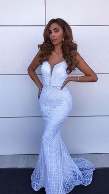 Sexy Spaghetti Straps Backless Evening Gowns | Mermaid Floor Length Prom Dress_1