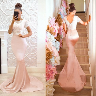 Gorgeous Short-Sleeve 2020 Prom Dress | Lace Mermaid Bridesmaid Dress On Sale_5