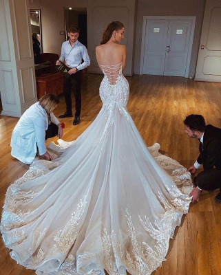 Sexy Strapless Mermaid Wedding Dresses Puffy Appliques Bridal Gowns_2