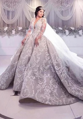 Gorgeous Long Sleeve Lace Wedding Dress | 2020 Princess Bridal Gowns_1