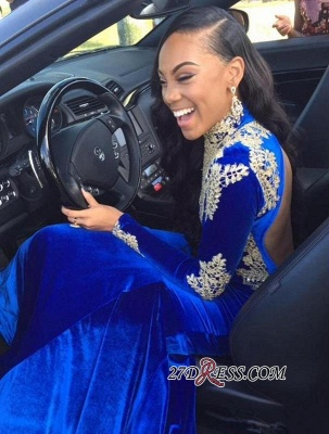 2020 Appliques Elegant Royal-Blue Mermaid High-Neck Long-Sleeves Prom Dress BK0 BC2061_2