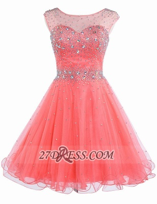 Lovely Illusion Cap Sleeve Short Homecoming Dress Beadings Crystals Zipper Cocktail Gown_1