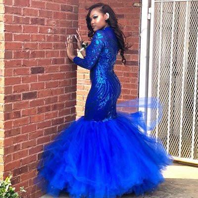 Royal-Blue Mermaid Prom Dress | Long Sleeve Sequins Party Gowns BK0_3