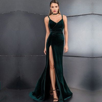 Elegant Velvet Green Prom Dresses | 2020 Slit Long Evening Gowns On Sale BC3608_2