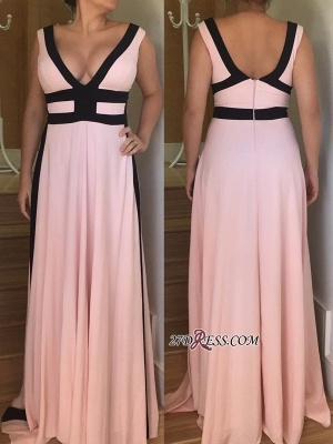V-neck long prom dress, 2020 evening party gowns_2