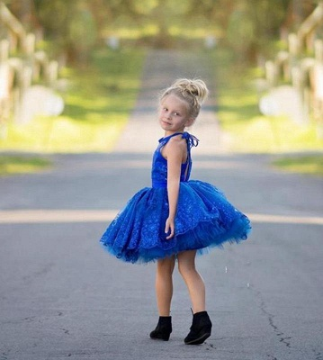 Newest Royal Blue Lace Appliques 2020 Flower Girl Dress Halter Puffy Mini_3