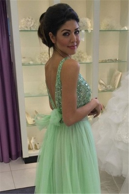 Delicate Crystals Tulle 2020 Prom Dress Bowknot A-line_5