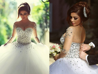 Vintage Long Sleeve Beadings Ball Gown Tulle Wedding Dress_5