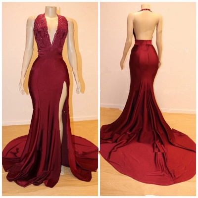 Gorgeous Halter Lace Prom Dress | 2020 Mermaid Slit Cheap Evening Gowns_2