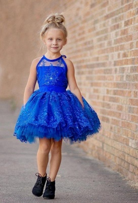 Newest Royal Blue Lace Appliques 2020 Flower Girl Dress Halter Puffy Mini_1