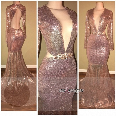 Sequined V-neck Gorgeous Mermaid Backless Long-Sleeve Prom Dress SP0295_1