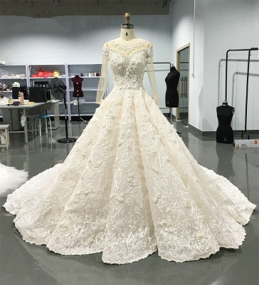 Luxury Long Sleeve Lace Wedding Dresses | 2020 Lace Designer Bridal Gowns_3