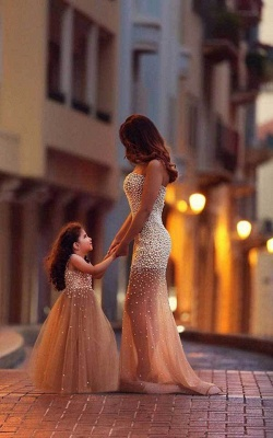 Beautiful Beadings Sheer Skirt 2020 Prom Dress Sweetheart Sleeveless Mother and Daughter Dress_1