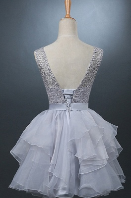 Lovely One-shoulder Short Chiffon Homecoming Dress Lace-up With Bowknot_2