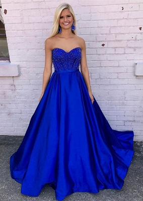 Elegant Royal Blue 2020 Evening Dress A-Line With Beadings_1