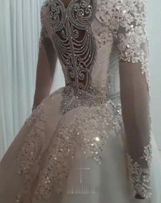 Luxurious Long Sleeves Mermaid Beading Wedding Dress | 2020 Overskirt Lace Appliques Crystals Bridal Gown_2