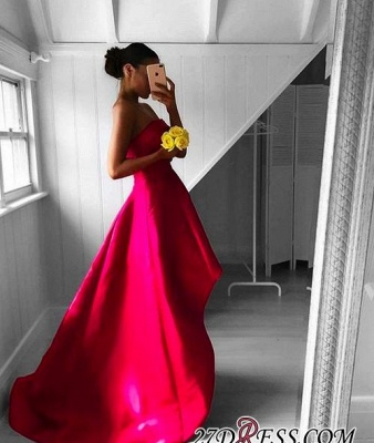 2020 Sleeveless Red Hi-Lo Sweep-Train Newest Strapless Prom Dress_2